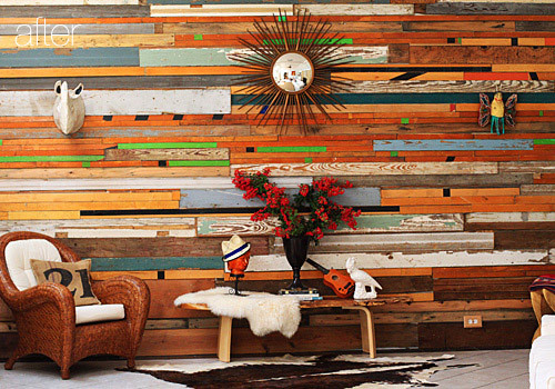 Salvaged wood wall.