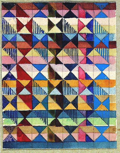 Gunta Stolzl, Design for a Jacquard woven textile Mounted on cardboard, and inscribed 'Jacquardentwürfe G. Stölzl 1927 Dessau'