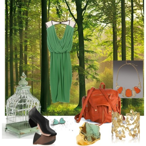 Hiking in the Forest by cynthia-coffield featuring a bib necklaceUnder Ligne green dress, £410Finsk wedge heels, $1,000Backpack, $75Kendra Scott bib necklace, $225Alex Woo gold cuff bracelet, $9,798Mali Sabatasso 24 karat gold jewelry, $275Nordic Forest Wall MuralFrench Distressed Bird Cage, $69
