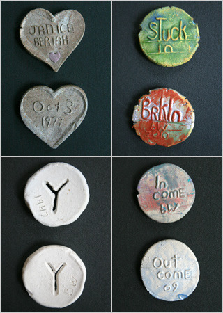 Poker-chip-size clay coins made by Beriah Wall, a Brooklyn artist.  For more than 30 years now, sharp-eyed New Yorkers have been finding them on ledges, windowsills and store counters — poker-chip-size coins that reveal themselves to be something far more mysterious than loose change.   I found one recently and decided to give it my sister, then I randomly met a woman who had some too and learned where it came from. Now I want more!