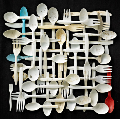 "thingsorganizedneatly:  SUBMISSION: Plastic forks, knives and spoons on black background. Found objects collected on Floyd Bennett Field, Brooklyn, New York. From the series of photographs ""Found in Nature"" by Barry Rosenthal."