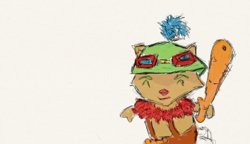 pumunkee:  Teemo. This is the first thing I've drawn with my tablet.   It's adorable :D