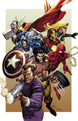 Artwork for Secret Invasion #8 variant cover. December, 2008. Art by Leinil Francis Yu.