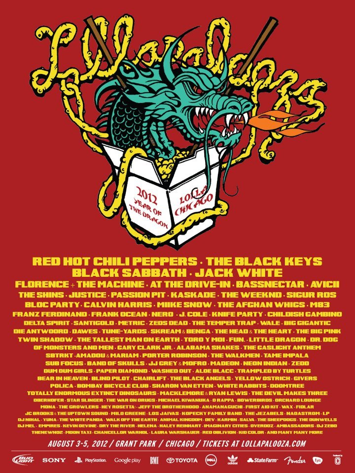 LOOK AT THAT SEXY LINEUP.  Solid choice in headliners, my friends. I'm so so so very excited for this year's Lolla. It's going to be the most fun for many a reason :)