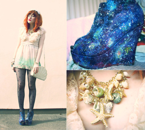 Yes to the shoes! Yes to being a cosmic mermaid!lookbookdotnu:  COSMIC MERMAID re-edit  (by Charlotte Clothier)