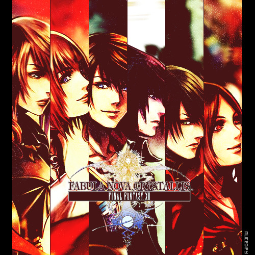 """One myth, countless storiesFINAL FANTASY XIIIThe New Tale of the CrystalLike the light that shines through the Crystal,the universe shines with multicolored content."" Fabula Nova Crystallis: Final Fantasy (ファブラ ノヴァ クリスタリス)"