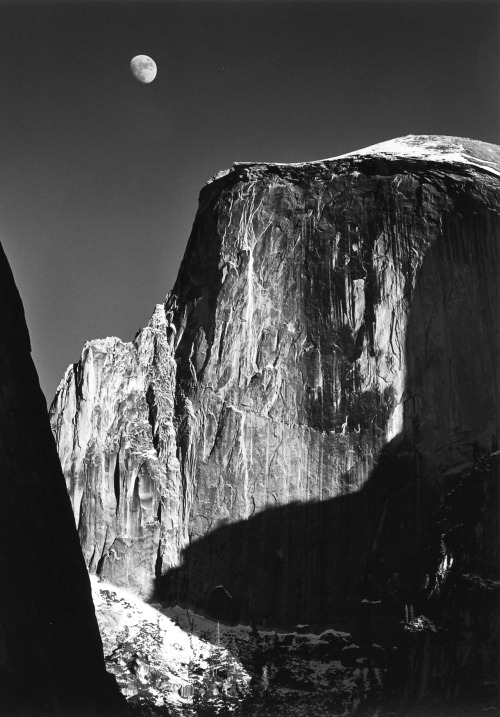 inritus:  Moon Over Half-Dome, Yosemite National Park, USA, 1960 | photographed by Ansel Adam  On my summer to-do list: finally climb Half Dome (no excuses)