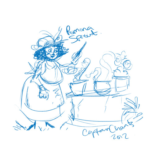 Loose early morning sketch of Prof. Pomona Sprout.  I've never drawn her before!