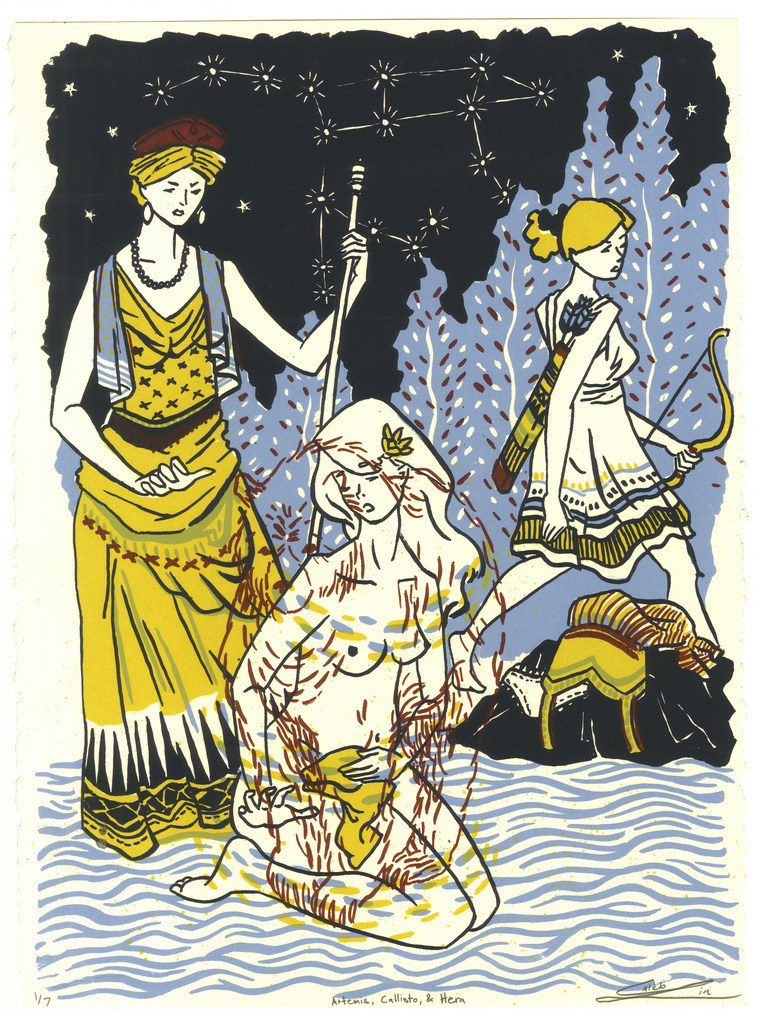 Artemis, Callisto & Hera 4 Layer screenprint on 15x11 Stonehenge