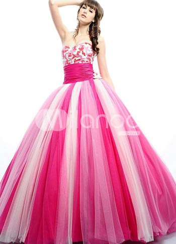 Sweet Pink Soft Tulle Strapless Floor Length Princess Prom Dress :  pink weddings floor length wedding dress