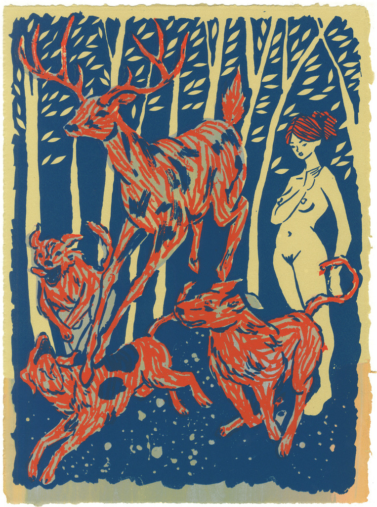 Artemis & Actaeon 3 layer screenprint on 15x11 Reeves BFK. 1 of 12 monoprints.