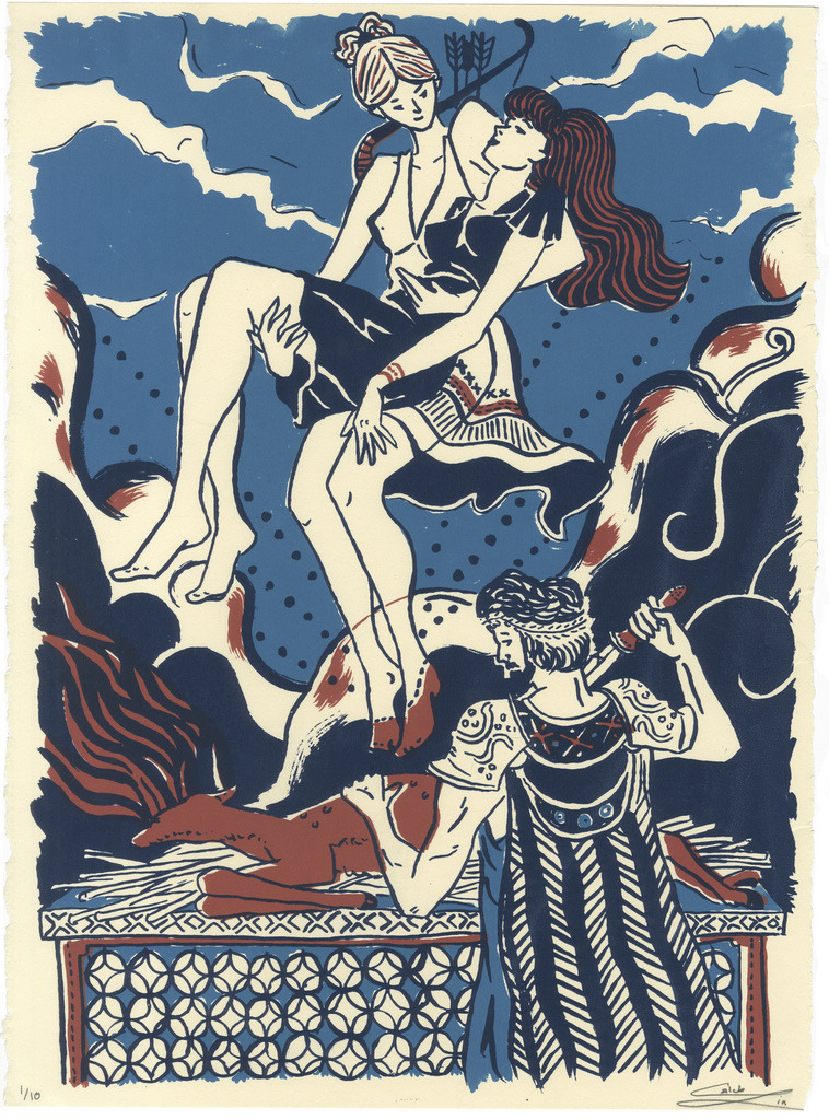 Artemis, Iphigenia, and Agamemnon 3 Layer Screenprint on 15x11 Stongehenge