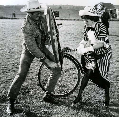 Stuart Whitman wrestles a bike. Sarah Miles gets snagged in a chain.