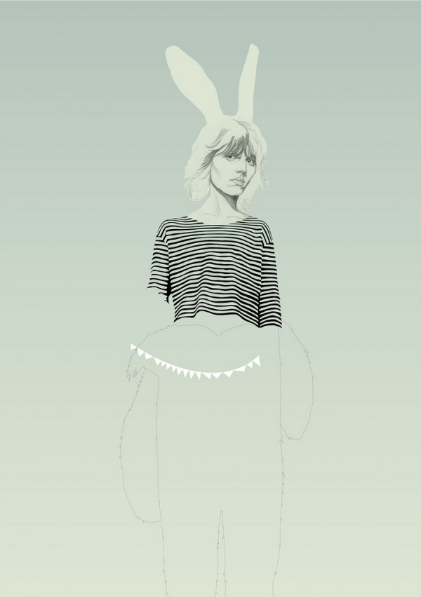 Illustrator and graphic designer, Denise Nestor's works closely resemble the later sketches of a fashion designer laced with quirky elements such as her almost trademark bunny suit. Undeniably realistic with a somewhat unfinished element to them, these illustrations are addictive, almost hypnotic.  http://treesforthewoods.blogspot.com/
