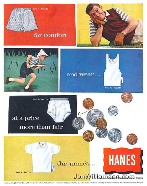 oldads:  Hanes - 19580503 Post on Flickr.  Website | Flickr | Tumblr | Twitter
