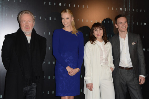 MICHAEL FASSBENDER, RIDLEY SCOTT, NOOMI RAPACE AND CHARLIZE THERON ATTEND THE PROMETHEUS PARIS PREMIERE AT CINEMA GAUMONT MARIGNAN