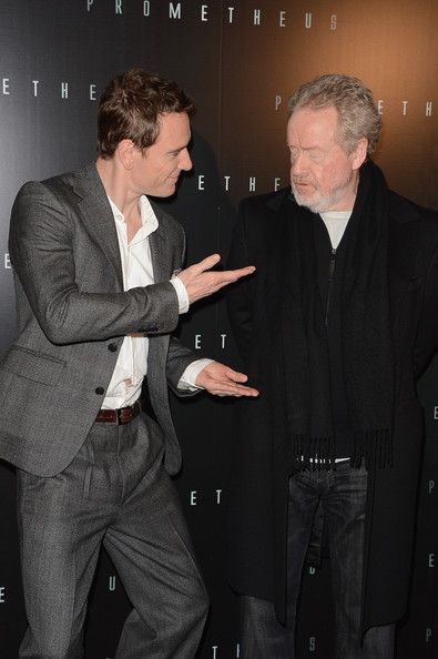 Ridley Scott is not amused by Michael Fassbender's antics  at the Prometheus Paris premiere. Lol :-D