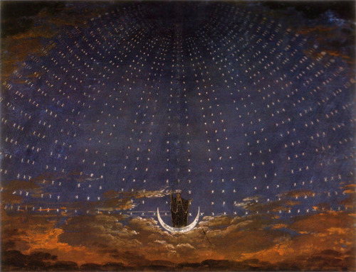 "Karl Friedrich Schinkel, 1815, Set Design for ""The Magic Flute"" - Starry Sky for the Queen of the Night"