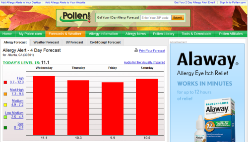 "Notice anything funny about this website?  I went to check out the pollen count in Atlanta today and noticed a button on this website that I have not noticed on other sites before.  I wonder how a visually impaired person who cannot read a bright chart is going to be able to find a small button that reads ""Audio for the Visually Impaired""."