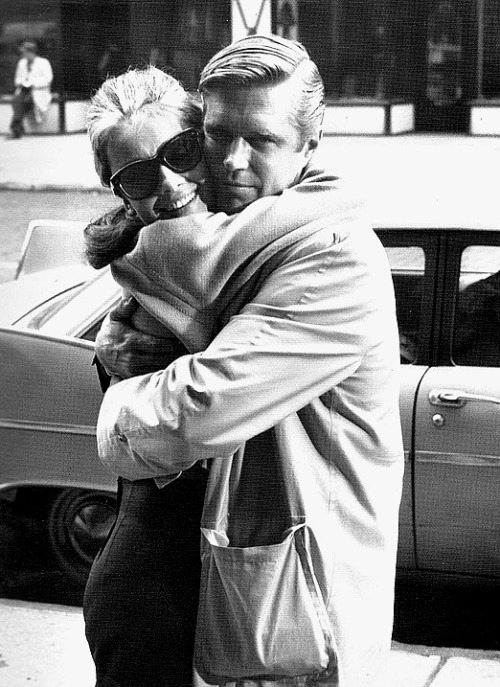 The A (for Audrey) team Audrey Hepburn and George Peppard behind the scenes of Breakfast at Tiffany's. (Via avintagegirlatheart.) How many of you just got 'Moon River' as an earworm?