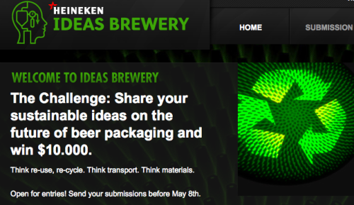 Heineken launches online innovation challenge to come up with new ideas for sustainable beer packaging.  Before you start, please be advised that local legislation unfortunately put restrictions on the ability to welcome ideas from all over the world. For this particular innovation challenge, participation is therefore limited to a selection of countries and states only.The challenge is open to all residents of the following countries: Austria, Brazil, Canada (excl. Quebec & Yukon), China, Germany, India, Italy, Japan, Netherlands, Spain, UK & US (excl. California).  Find out more and enter at ideasbrewery.com