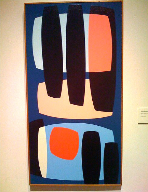 Karl Benjamin, Black Pillars, 1957, oil on canvas. Bonita pintura, ¿no creen?