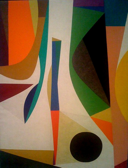 Frederick Hammersley, Up Within, 1957–58, oil on linen, 48 x 36 in. From the exhibit at the Oakland Museum of CA,