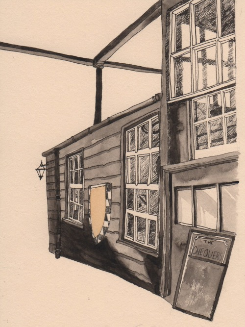 eatsleepdraw:  The Chequers, Oxford. A drawing from my third year project.