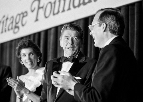 thesilentist:  theheritagefoundation:  President Reagan at Heritage's 10-year anniversary.  The dapper Gipper.