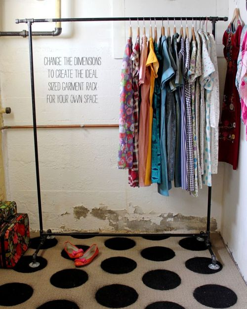 garment rack DIY via a beautiful mess