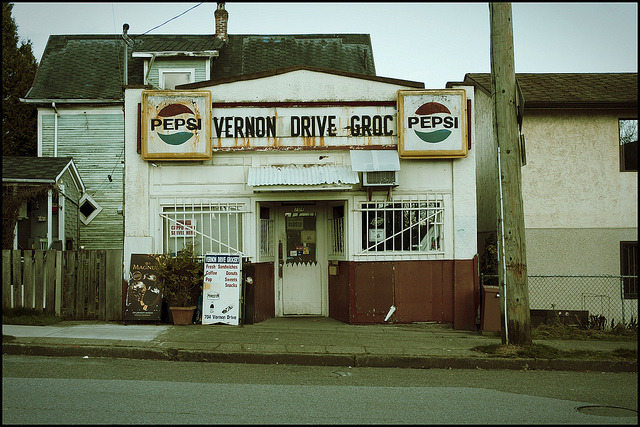 "super-lovely:  ""Vernon Drive Grocery"" by Eric Flexyourhead on Flickr."