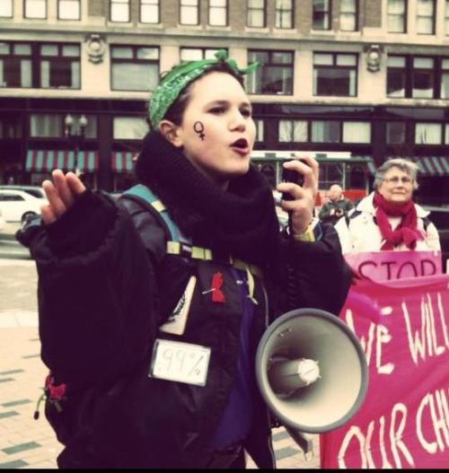 Leading chants at the Occupy Boston Women's March.