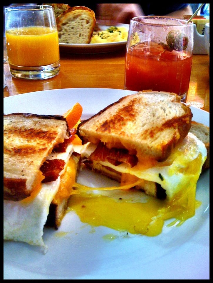 Breakfast sandwich and a Bloody Mary at Orange Table in Scottsdale