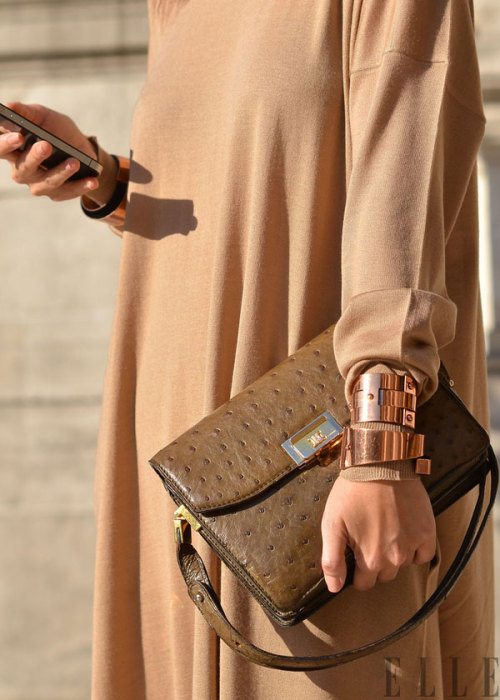 caramel with ostrich and bronze bangles   elle:  Street Chic: Paris Shades of caramel Photo: Courtney D'Aleiso