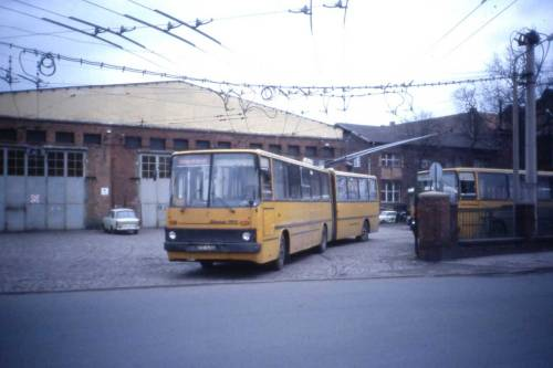 Ikarus at Eberswalde Trolleybus Depot, DDR, Jan 1990 Today the last trolleybus service in east germany.