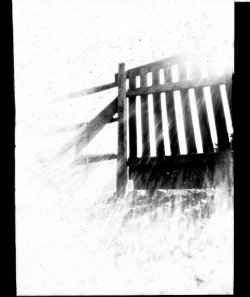 Pinhole photograph from high school.  Sun coming through the fence and very dirty film… credit: Sandy Mitchell