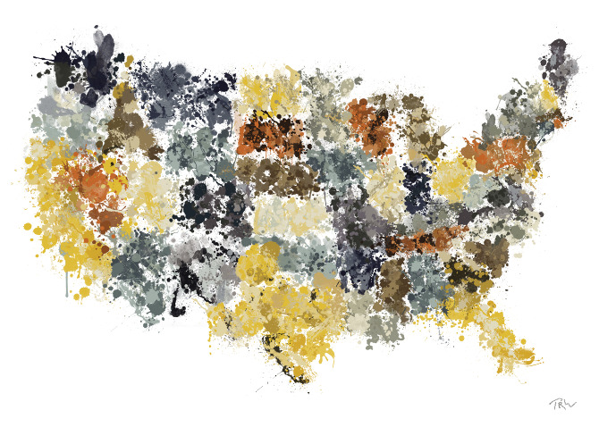 Say Jackson Pollock did a map of the U.S., what would it look like? Check out these bogus artist maps from information designer Tim Wallace. His serious work includes exquisite examples of data-driven mapping.