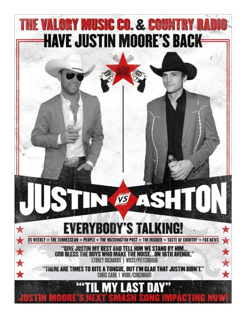 Justin Moore and Ashton Kutcher have been going round and round since we interviewed Moore about his 'distaste' for Kutcher's antics at the ACM Awards. Now it looks like country radio has Moore's back. Your move, Ashton.