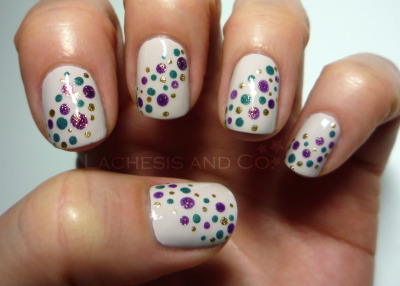 lachesisandco:  Random Dots Julep Annette Dots - Butter London Victoriana, Orly Luxe and OPI It's My Year