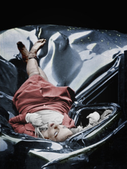 On [May 1, 1947], just after leaving her fiancé, 23-year-old Evelyn McHale wrote a note. 'He is much better off without me … I wouldn't make a good wife for anybody,' … Then she crossed it out. She went to the observation platform of the Empire State Building. Through the mist she gazed at the street, 86 floors below. Then she jumped. In her desperate determination she leaped clear of the setbacks and hit a United Nations limousine parked at the curb. Across the street photography student Robert Wiles heard an explosive crash. Just four minutes after Evelyn McHale's death Wiles got this picture of death's violence and its composure. -Life Magazine