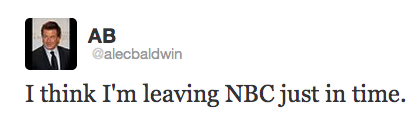 It appears Alec Baldwin may have just quit his job via Twitter.