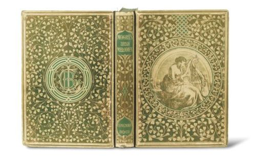 "Irish Melodies Thomas Moore. London: Longman, Brown, Green, and Longmans, 1846.  Additional title and decorative borders throughout by Daniel Maclise. Apart from letterpress title, preface leaf, and end matter, entirely engraved throughout. 4to, original bevelled cream boards printed in green and gold with shamrock border enclosing center roundel showing woman playing harp (front cover) and publisher's monogram (rear cover),  First Maclise edition, in the original boards, ""one of the finest covers of the early Victorian period, probably designed by Owen Jones""—McLean (1983), page 30. Ray, The Illustrator and the Book in England 29 (""a landmark … in the history of style"")."