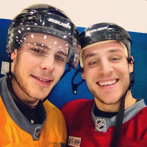 nhlbruins:  GC11: Seggs and I on the ice. #bruins #poweredbyATT (Taken with instagram)  Hah, love it.