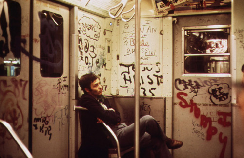 urbanmetaphysics:  New York City subway car, c. 1973.  I remember those old train carts!