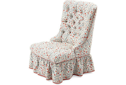 Most American thing ever?  Parish-Hadley slipper chair in red, white, and blue linen. (RIP, Albert.) [OKL]
