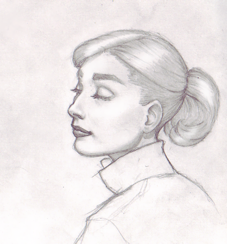 Latest sketch of the beautiful Audrey Hepburn. Had fun with the shading on this one.