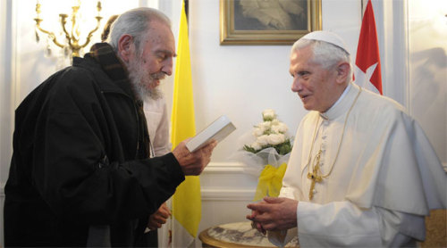 "What did Pope Benedict get wrong in Cuba? ""Thus, while in Cuba—one of the most repressive nations on earth—Pope Benedict spoke only obliquely of freedom and respect for human rights. He also met privately for a half-hour with the ailing Fidel Castro and several of his progeny, while claiming that his schedule was too tight for a one-minute meeting with the dissident Ladies in White. When a Cuban was savagely beaten by government thugs at the papal Mass in Santiago and hauled away, simply for shouting ""down with communism,"" Pope Benedict said nothing. When thirteen dissidents who had sought asylum in a Havana church were also assaulted and dragged away by police—at the express orders of Cardinal Jaime Ortega, the archbishop of Havana—Pope Benedict said nothing. He also said nothing about Cardinal Ortega's willingness to turn the Catholic Church in Cuba into an arm of the state. But he did manage to scold the United States for its so-called embargo, and thereby please his hosts."" - Carlos Eire, What Pope Benedict Got Wrong in Cuba Photo courtesy of The Catholic World Report"