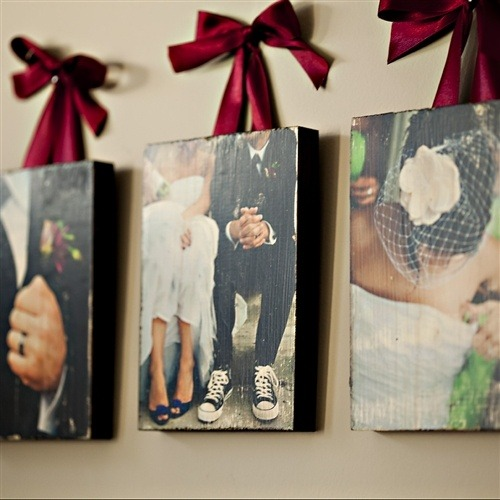 Love this idea of placing your wedding photos on distressed wood and hung up on your wall by Photo Barn.