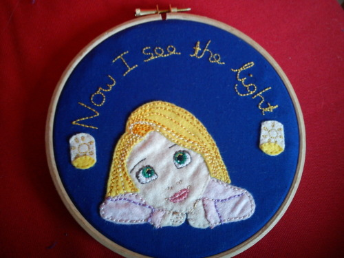 Little Rapunzel embroidery hoop I just finished. Took about a week to do, completely hand embroidered with felt applique.