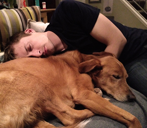 Me and Bayou asleep, photographed by Abby.